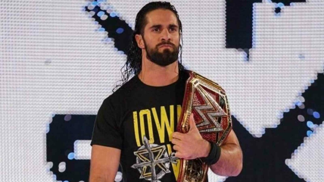 Seth Rollins reacts to john Cena and Roman Reigns segment