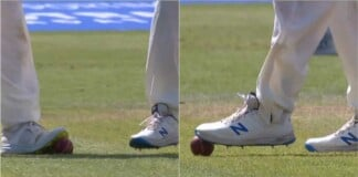 England players scuff the ball with their shoes, ball tampering