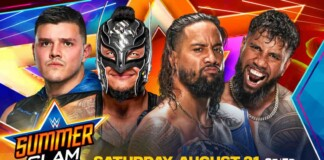 The Usos and the Mysterio had an action packed match at Summerslam