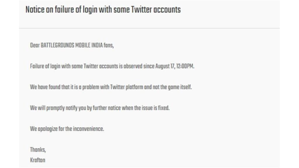 Krafton addresses BGMI twitter login failed issue