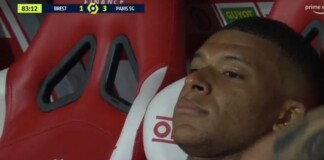 Kylian Mbappe frustrated being subbed off agaisnt Stade Brest