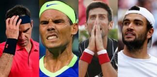Roger Federer, Rafael Nadal, Novak Djokovic, Matteo Berrettini