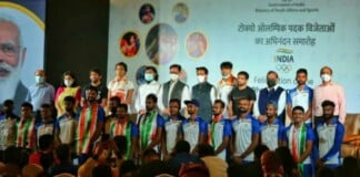 All Tokyo Olympics medallists at the Felicitation ceremony