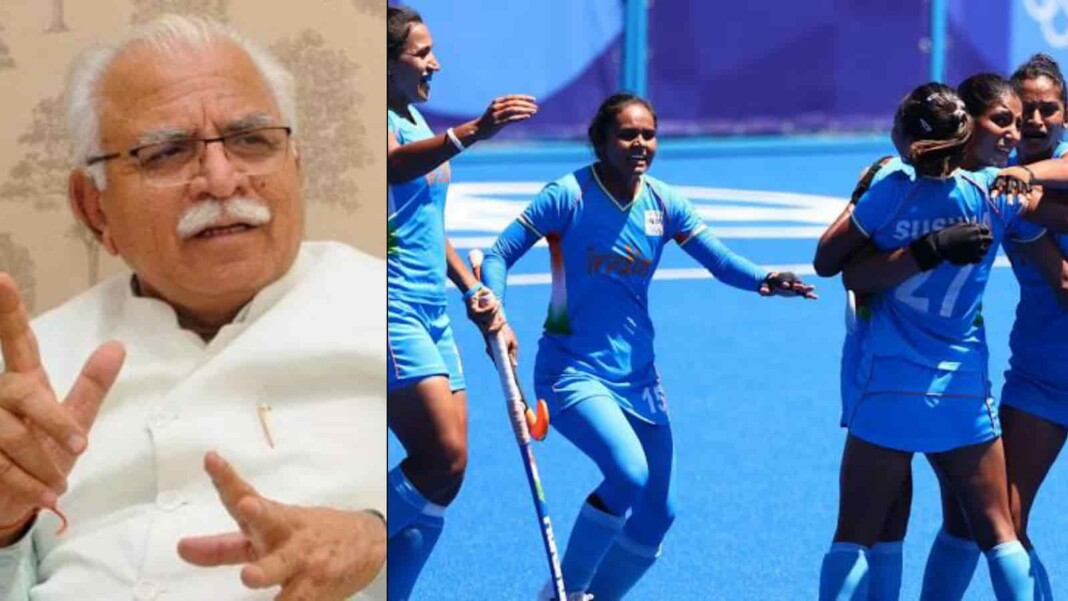 CM Khatar and Indian women's hockey team