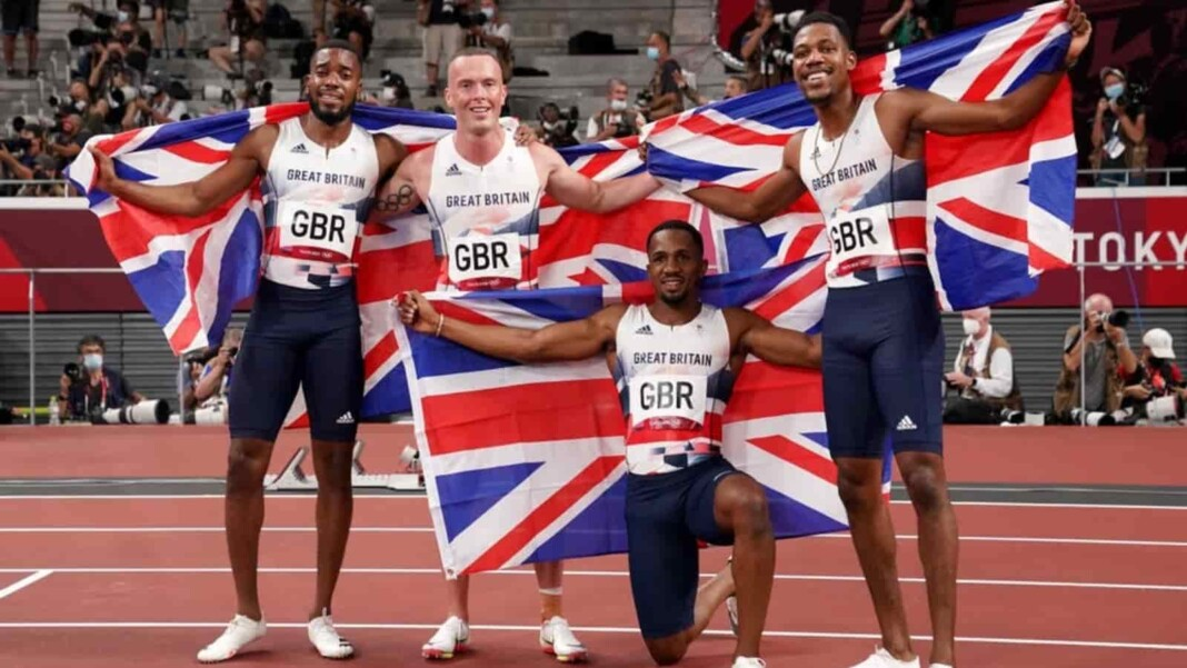 Chijindu Ujah (second right) after winning silver in the men's 4x100m relay
