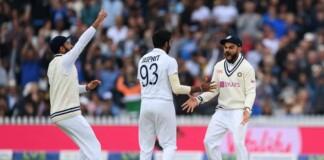 India celebrates a wicket at Lords, India vs England