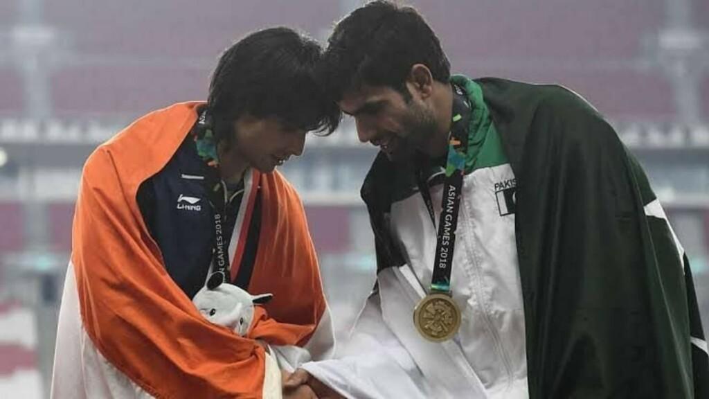 Neeraj Chopra and Arshad Nadeem at 2018 Asian Games