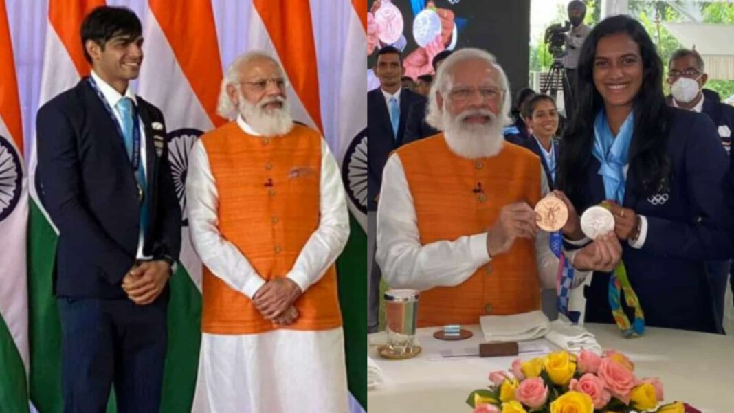 PM Narendra Modi with PV Sindhu and Neeraj Chopra