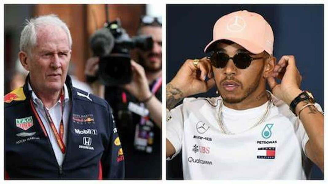 Red Bull's Helmut Marko and Mercedes' Lewis Hamilton