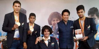 Sachin Tendulkar with Rio Paralympics athletes