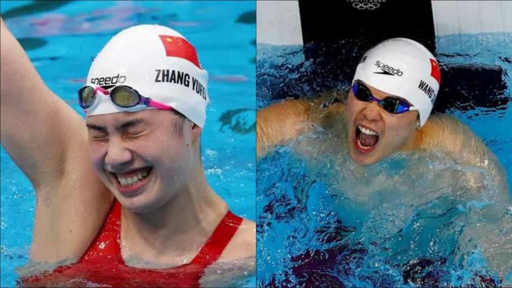 swimming at Tokyo Olympics; Yufei Zhang and Wang Shun