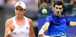 Ashleigh Barty and Novak Djokovic