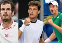 Andy Murray, Pablo Carreno Busta and Hubert Hurkacz