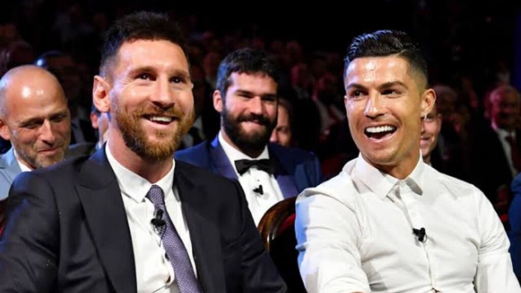 Cristiano Ronaldo and Lionel Messi in 2018/19 UEFA MEN'S PLAYER OF THE YEAR AWARD CEREMONY