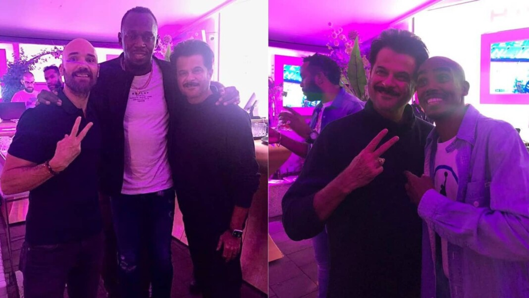 Anil Kapoor with Usain Bolt and Hussein Mo Farah