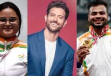Avani Lekhara, Hrithik Roshan and Sumit Antil