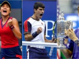 Emma Raducanu, Carlos Alcaraz, Daniil Medvedev at the US Open 2021