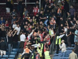 Arsenal and Burnley fans clash