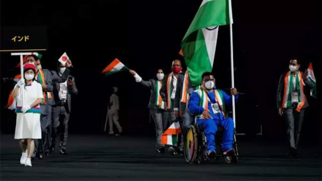 India at the opening ceremony of Tokyo Paralympics