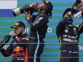 Max Verstappen, Lewis Hamilton and Daniel Ricciardo