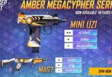 Mini Uzi Amber Megacypher & MAG7 Amber Megacypher in Free Fire Faded Wheel