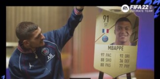Marco Veratti surprised after taking a look at Kylian Mbappe's FUT Card