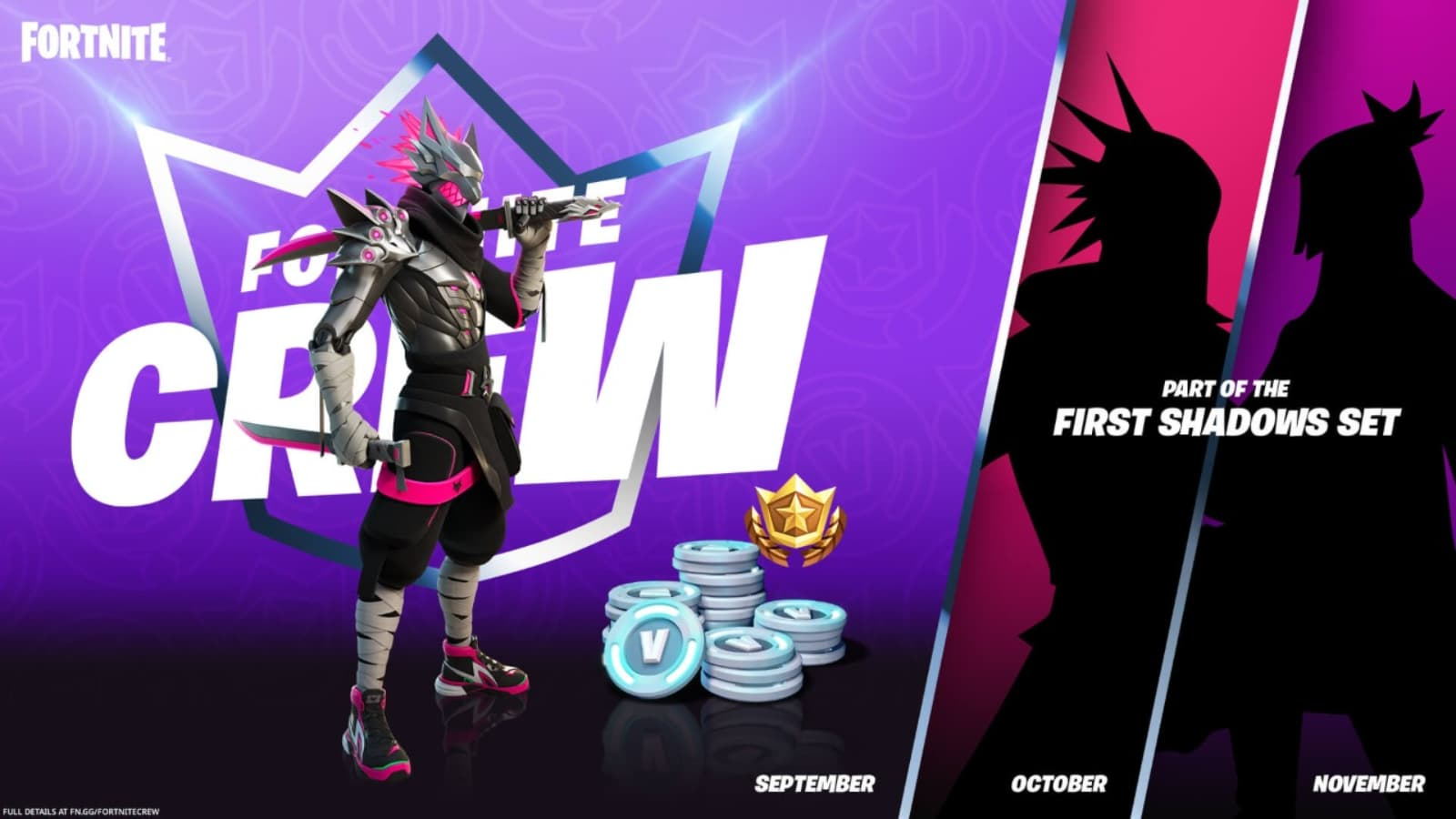Fortnite First Shadows: Upcoming Months Crew Pack in Season 8
