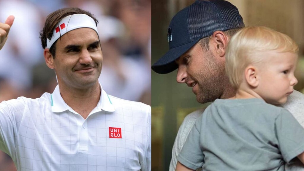 Roger Federer and Andy Roddick with his kid
