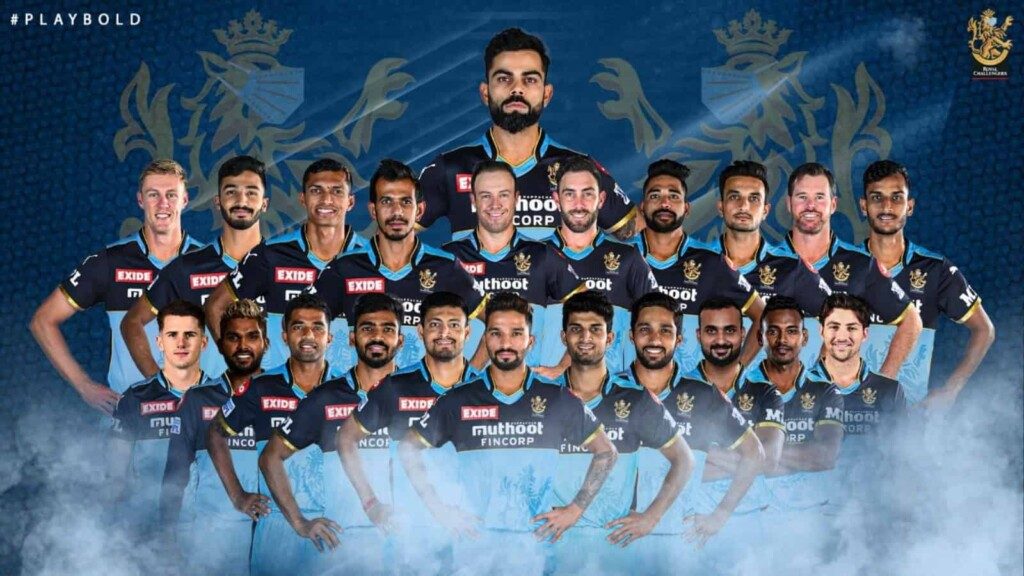 RCB squad in blue jersey