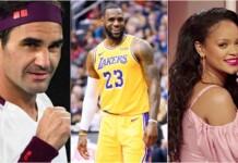 Roger Federer, Lebron James, Rihanna