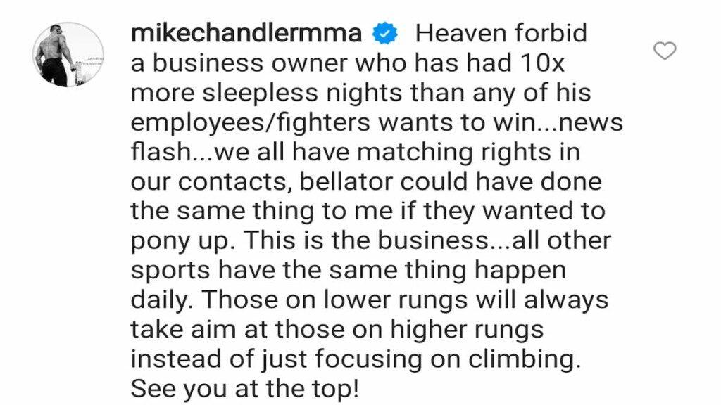 Michael Chandler  response on Dana White controversy