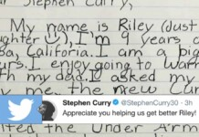 Stephen Curry on Riley Morrison's Letter