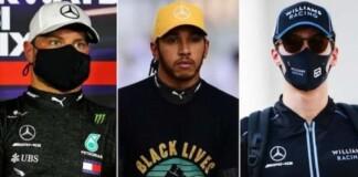 Valtteri Bottas, Lewis Hamilton and George Russell