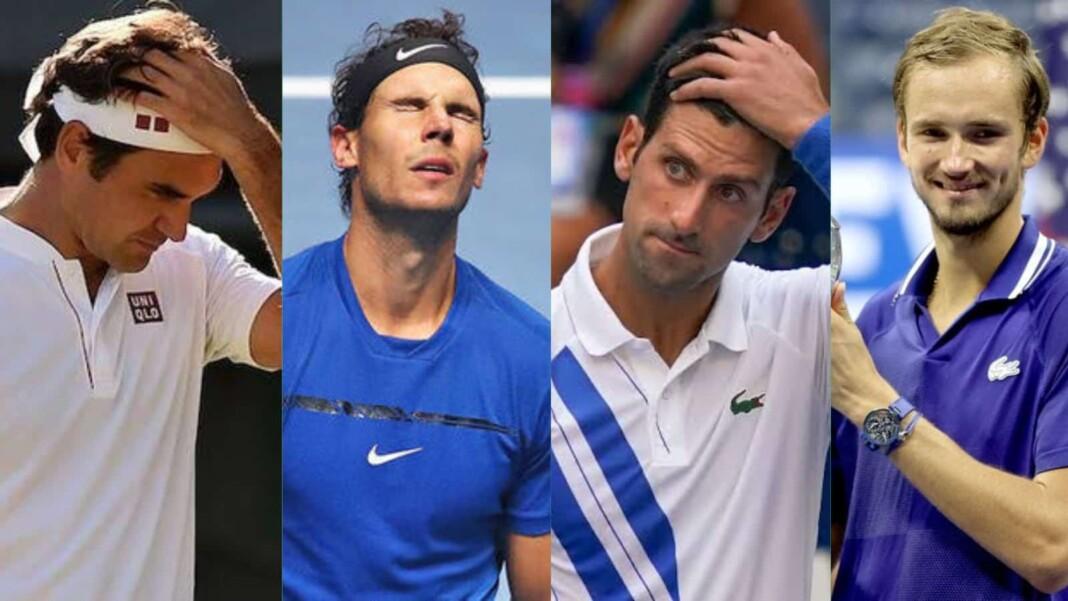 Roger Federer, Rafael Nadal, Novak Djokovic, and Daniil Medvedev