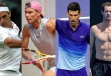 Roger Federer, Rafael Nadal, Novak Djokovic and Andy Murray