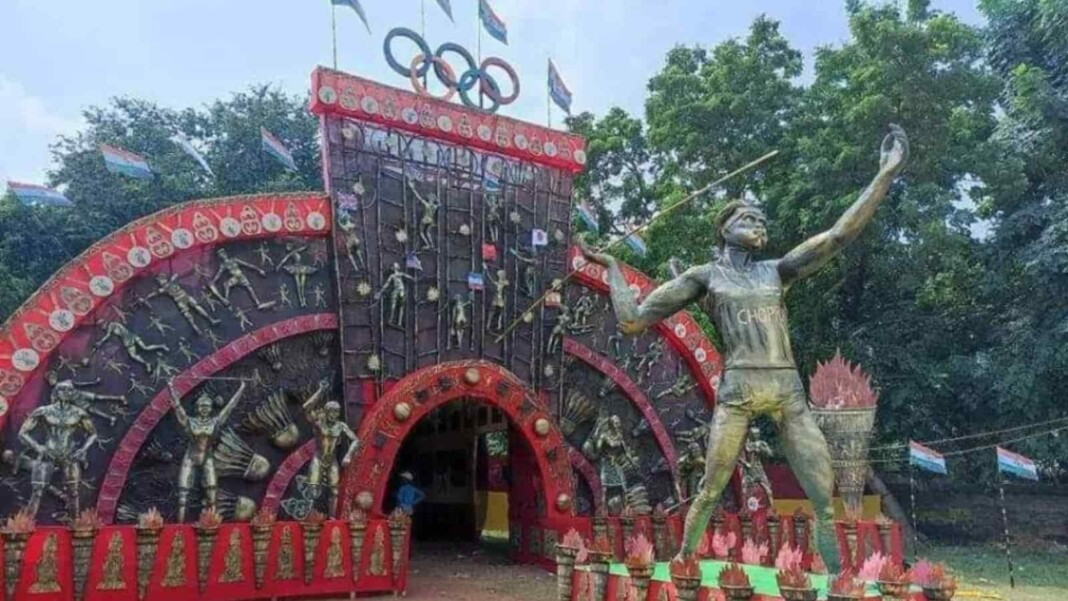 Olympics concept based Durga Puja Pandal