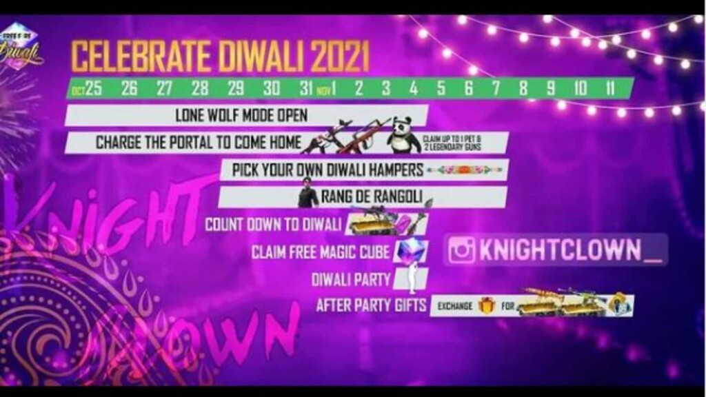 free fire diwali event calendar