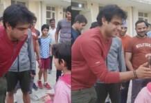 Neeraj Chopra interacts with a little fan