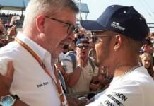 Ross Brawn and Lewis Hamilton