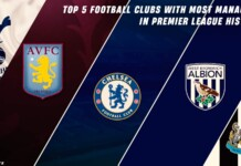 Top 5 Football Clubs with most managers in Premier League history